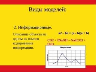 2. Информационные. Виды моделей: a2 – b2 = (a - b)(a + b) CO2 + 2NaOH = Na2CO