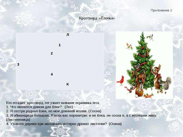 Приложение 2 Кроссворд «Ёлочка» Кто отгадает кроссворд, тот узнает название...