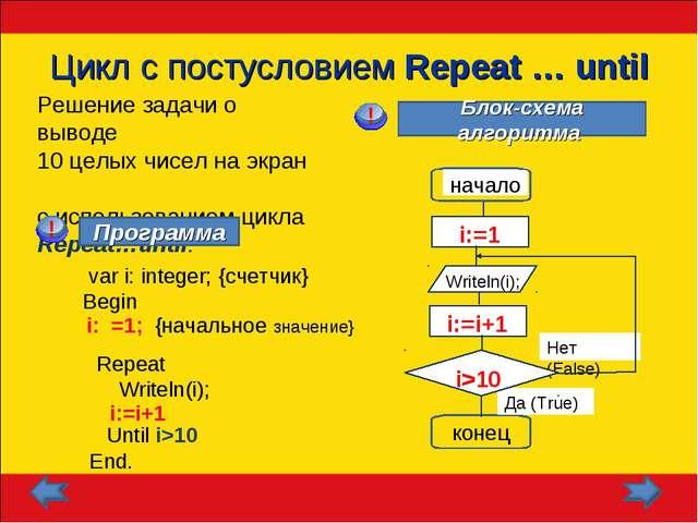 Цикл с постусловием Repeat … until Решение задачи о выводе 10 целых чисел на...