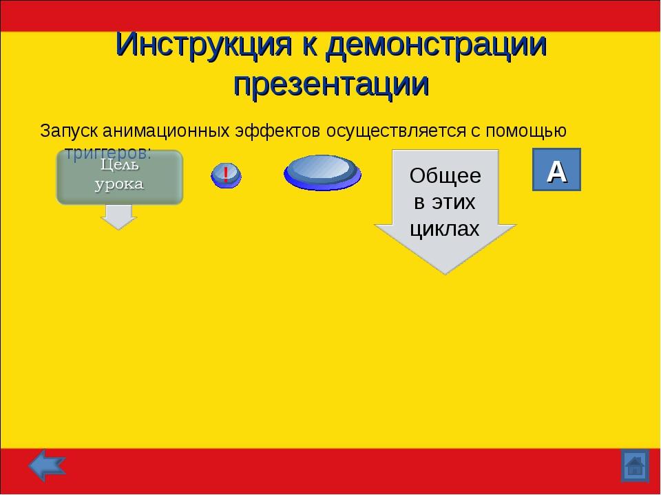 Инструкция к демонстрации презентации Запуск анимационных эффектов осуществля...