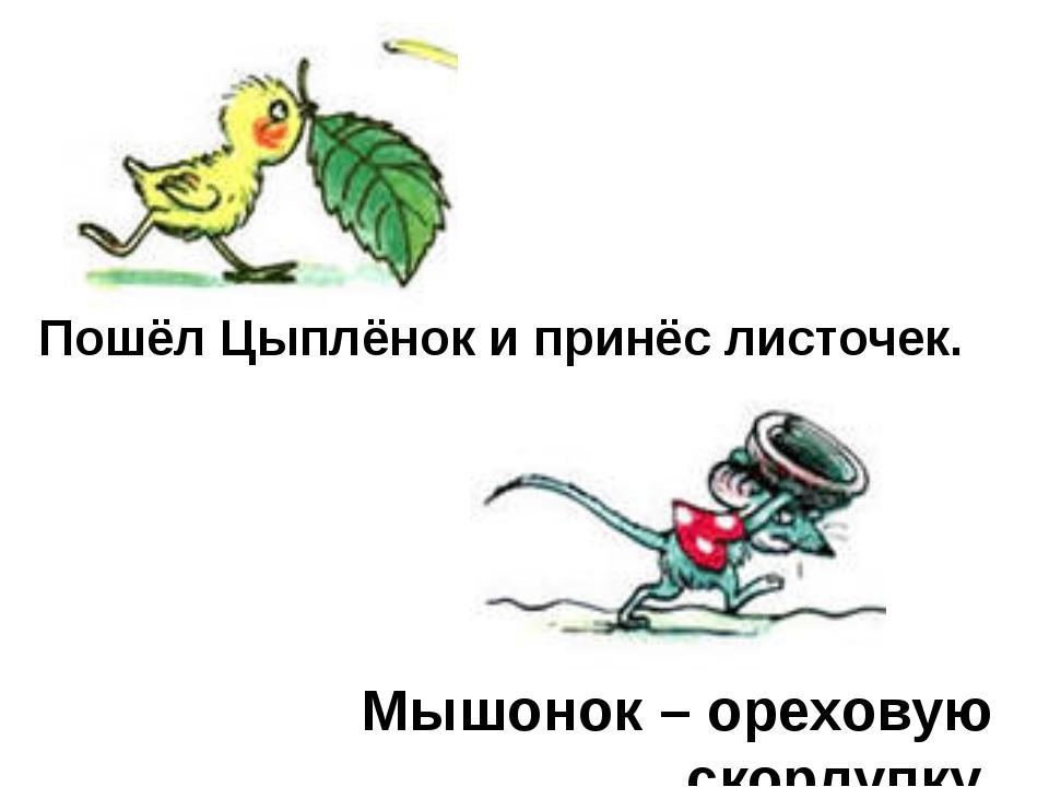 Пошёл Цыплёнок и принёс листочек. Мышонок – ореховую скорлупку.