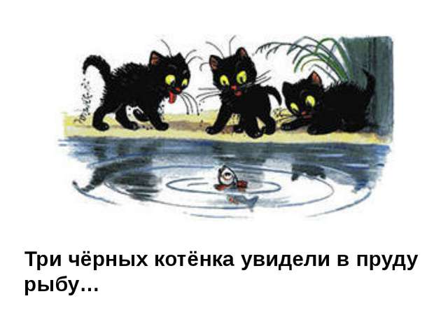 Три чёрных котёнка увидели в пруду рыбу…