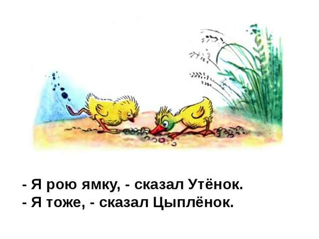 - Я рою ямку, - сказал Утёнок. - Я тоже, - сказал Цыплёнок.