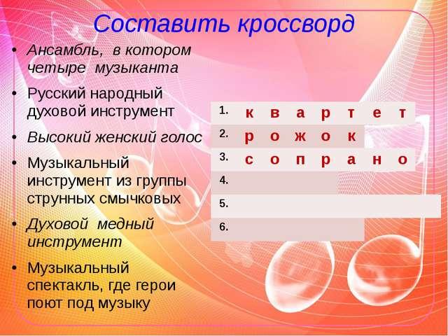Составить кроссворд Ансамбль, в котором четыре музыканта Русский народный дух...