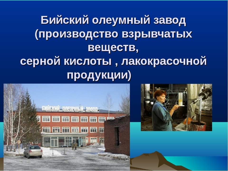 Бийский олеумный завод (производство взрывчатых веществ, серной кислоты , лак...