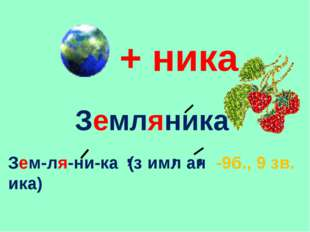 + ника Земляника Зем-ля-ни-ка (з имл ан ика) , , , -9б., 9 зв.