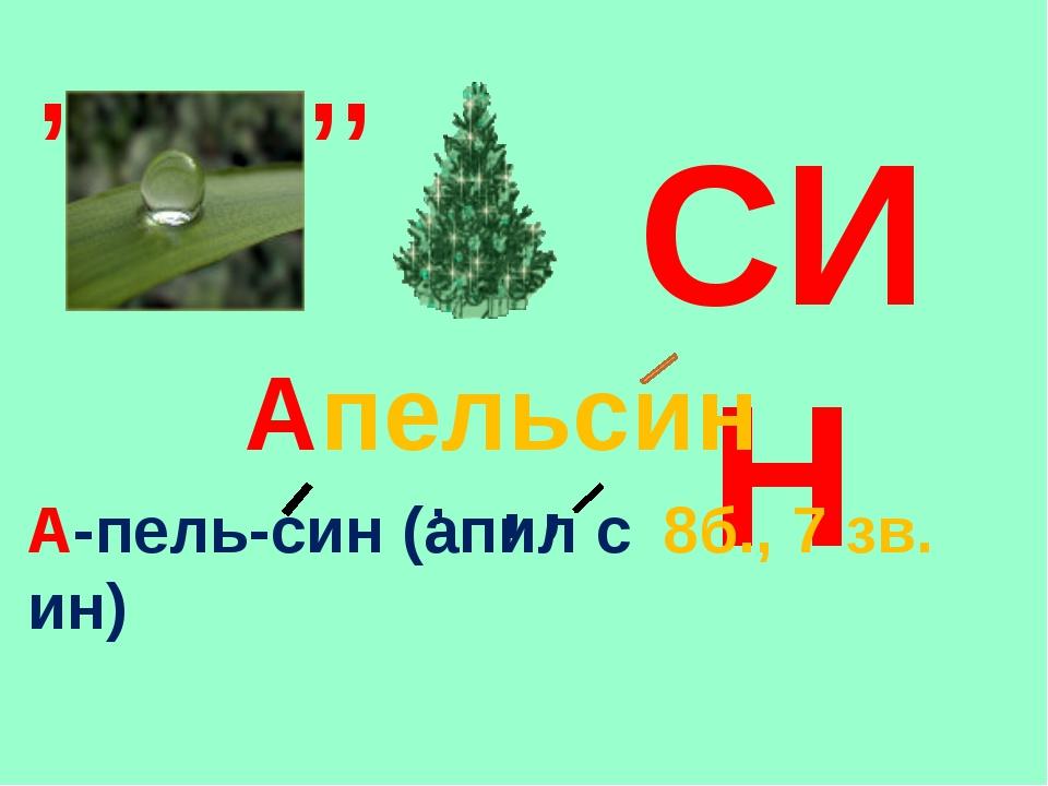 СИН , ,, Апельсин А-пель-син (апил с ин) , , , 8б., 7 зв.