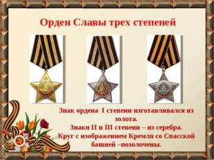 Орден Славы трех степеней Знак ордена I степени изготавливался из золота. Зна
