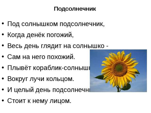 Подсолнечник Под солнышком подсолнечник, Когда денёк погожий, Весь день гляди...