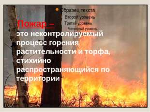Пожар – это неконтролируемый процесс горения растительности и торфа, стихий