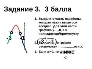 Выделите часть параболы, которая лежит выше оси абсцисс. Для этой части граф