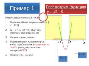 Пример 1 Решить неравенство: x2 – 9  0 Ветви параболы направлены верх (а =1