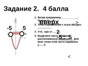 Ветви направлены ___________, Значит А…..0 Точек пересечения с осью абсцисс …