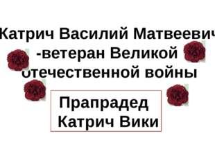 Катрич Василий Матвеевич -ветеран Великой отечественной войны Прапрадед Катр