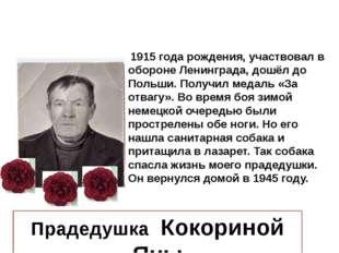 1915 года рождения, участвовал в обороне Ленинграда, дошёл до Польши. Получи