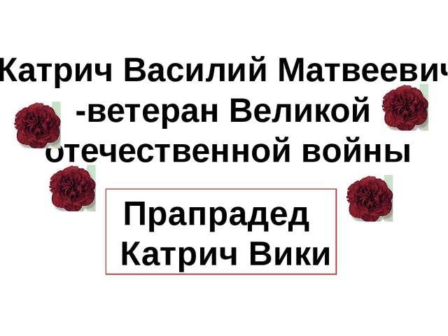 Катрич Василий Матвеевич -ветеран Великой отечественной войны Прапрадед Катр...