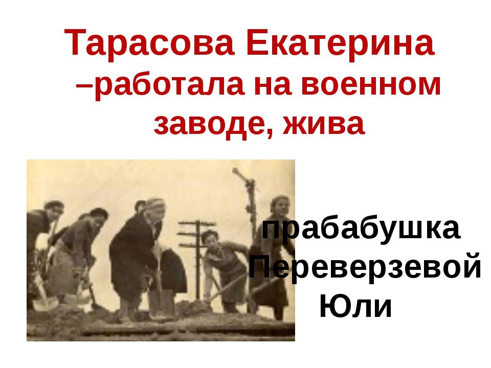 прабабушка Переверзевой Юли Тарасова Екатерина –работала на военном заводе,...