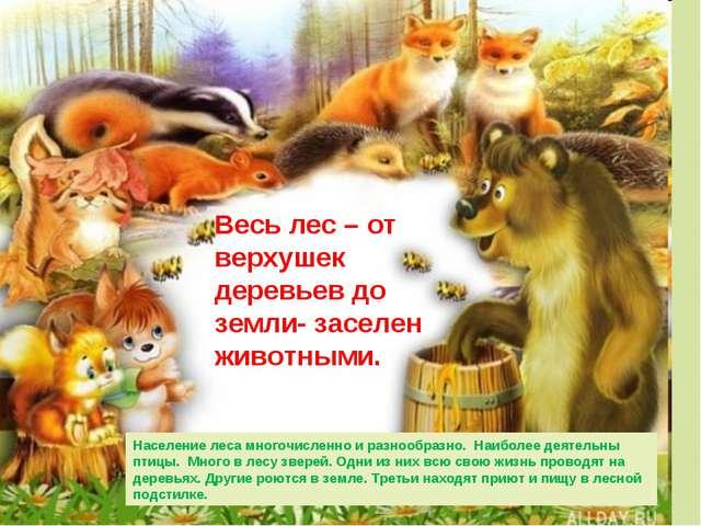 Весь лес – от верхушек деревьев до земли- заселен животными. Население леса м...