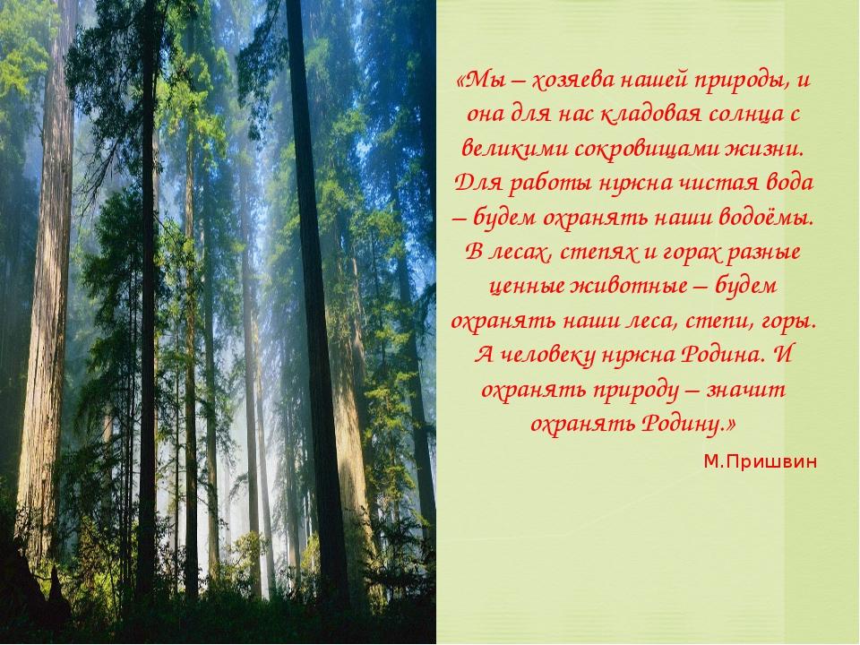 «Мы – хозяева нашей природы, и она для нас кладовая солнца с великими сокрови...