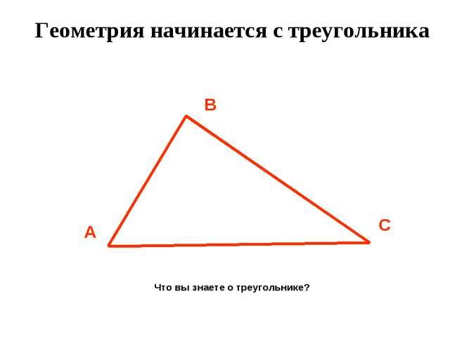 Геометрия начинается с треугольника Что вы знаете о треугольнике?