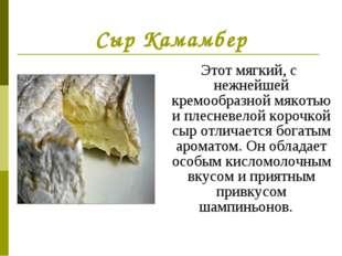 Сыр Камамбер Этот мягкий, с нежнейшей кремообразной мякотью и плесневелой кор