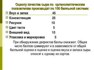 Оценку качества сыра по органолептическим показателям производят по 100 балл