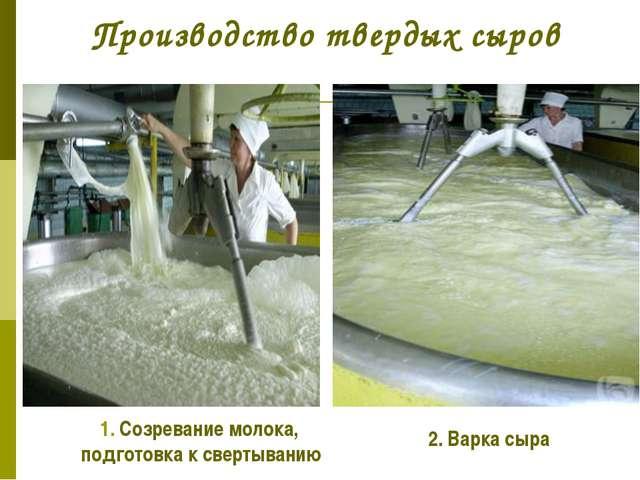 Производство твердых сыров 1. Созревание молока, подготовка к свертыванию 2....
