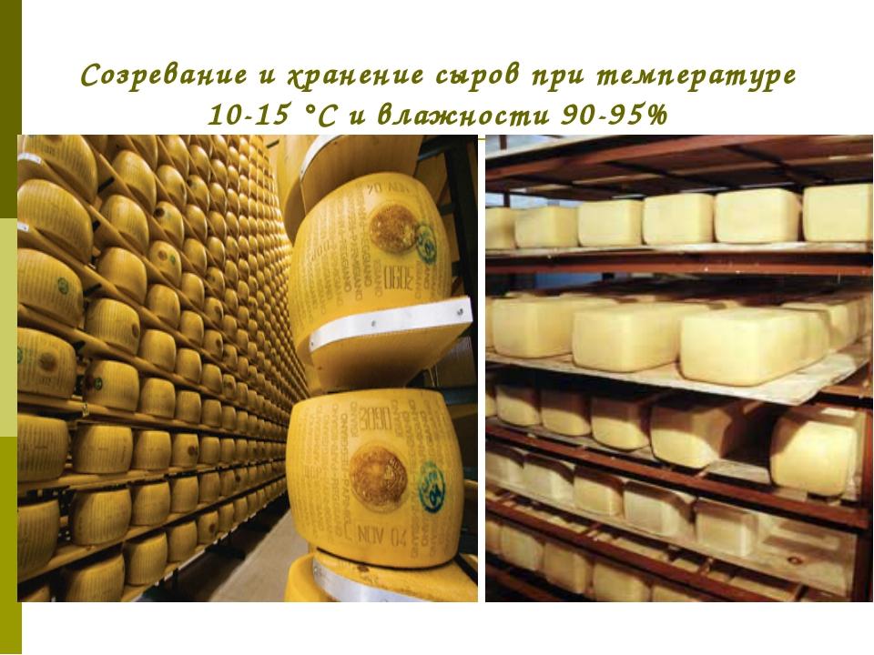 Созревание и хранение сыров при температуре 10-15 °С и влажности 90-95%
