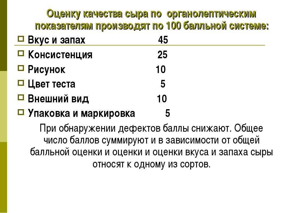 Оценку качества сыра по органолептическим показателям производят по 100 балл...