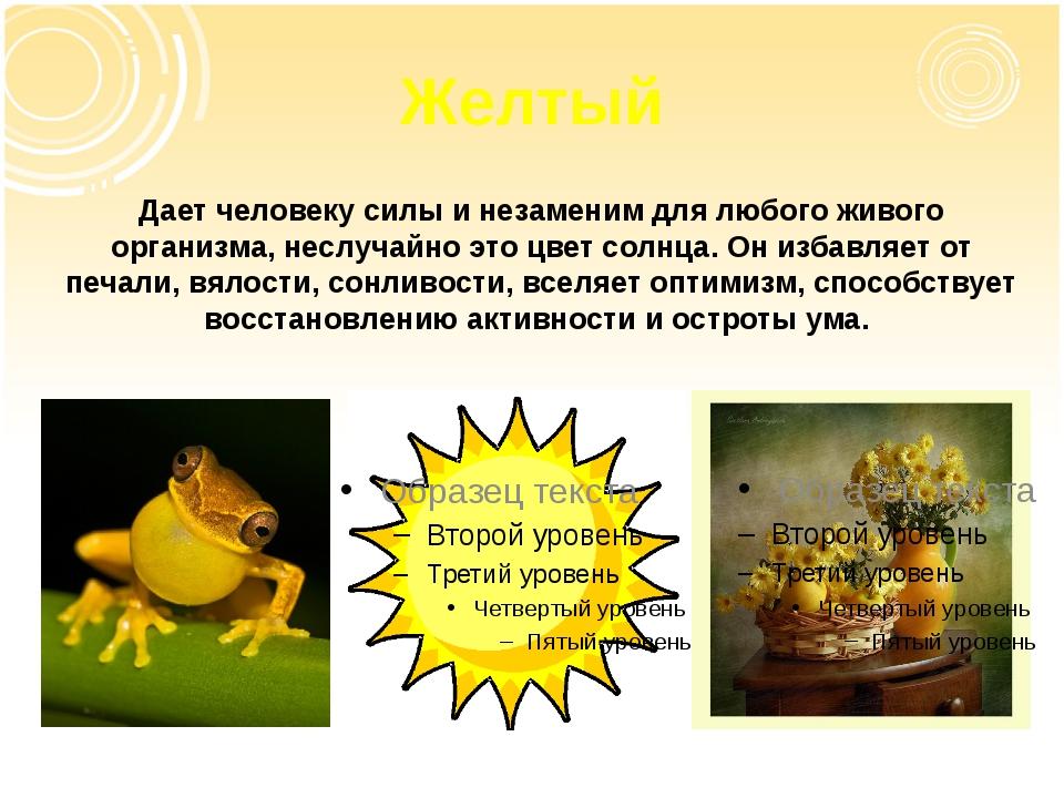 Желтый Дает человеку силы и незаменим для любого живого организма, неслучайно...