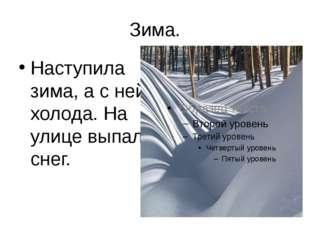 Зима. Наступила зима, а с ней холода. На улице выпал снег.