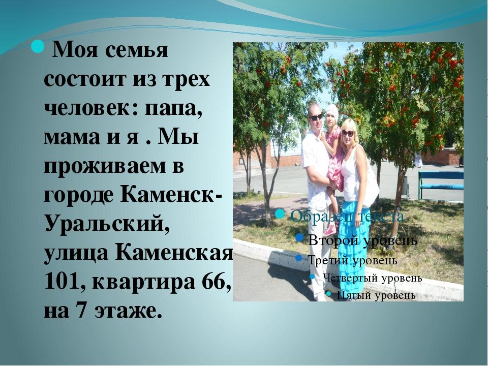 Моя семья состоит из трех человек: папа, мама и я . Мы проживаем в городе Кам...