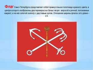 Флаг Санкт-Петербурга представляет собой прямоугольное полотнище красного цве