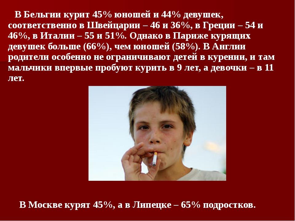 В Бельгии курит 45% юношей и 44% девушек, соответственно в Швейцарии – 46 и...
