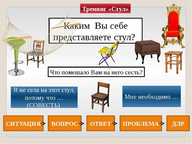 Каким Вы себе представляете стул? Я не села на этот стул, потому что … (СОВЕС...