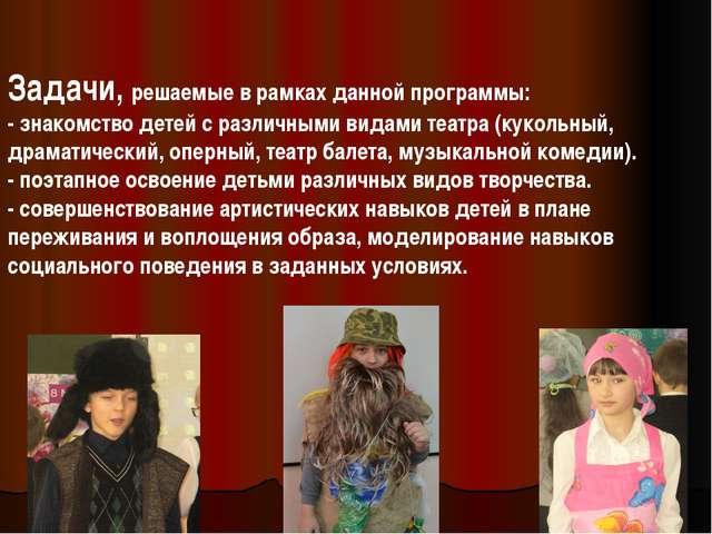 Задачи, решаемые в рамках данной программы: - знакомство детей с различными в...