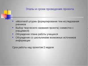Этапы и сроки проведения проекта «Мозговой штурм» формулирование тем исследов