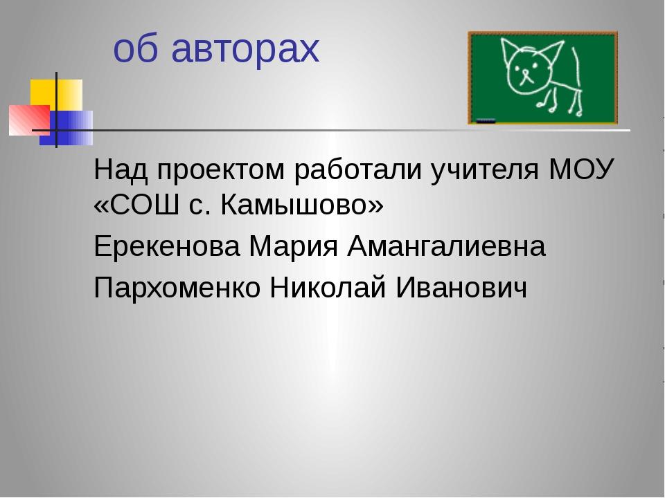 об авторах Над проектом работали учителя МОУ «СОШ с. Камышово» Ерекенова Мар...