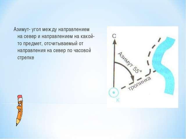 Азимут- угол между направлением на север и направлением на какой-то предмет,...
