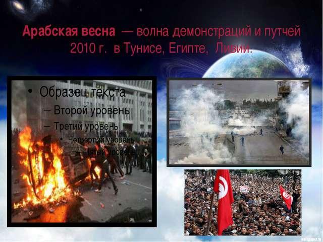 Арабская весна— волна демонстраций и путчей 2010 г.в Тунисе,Египте, Лив...