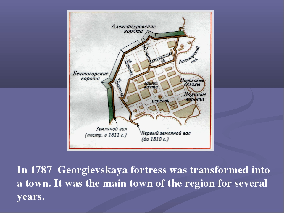 In 1787 Georgievskaya fortress was transformed into a town. It was the main t...