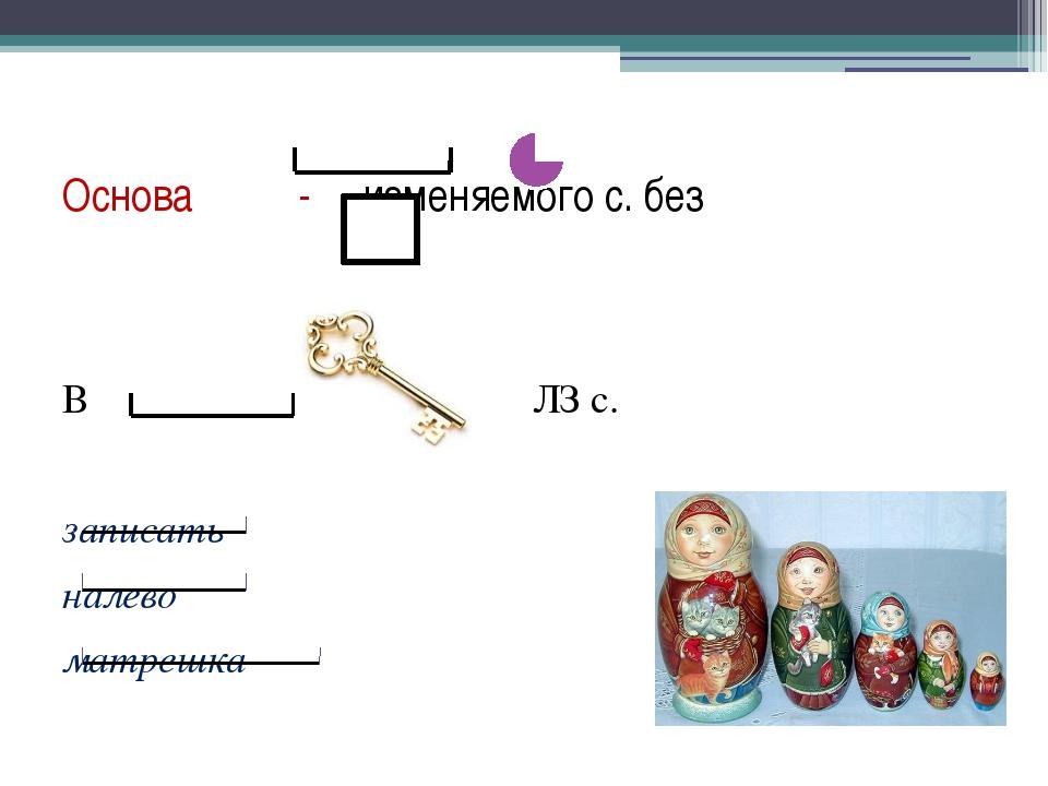 Основа - изменяемого с. без В ЛЗ с. записать налево матрешка