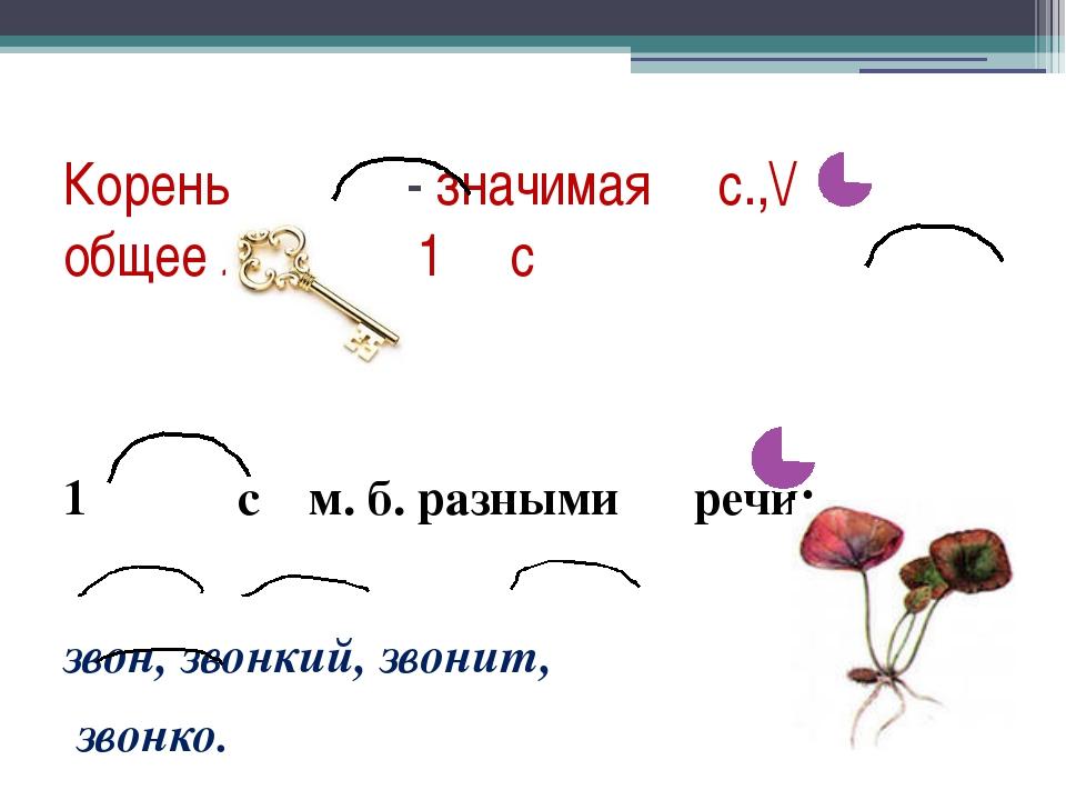 Корень - значимая с.,\/ общее ЛЗ всех 1 с 1 с м. б. разными речи: звон, звонк...
