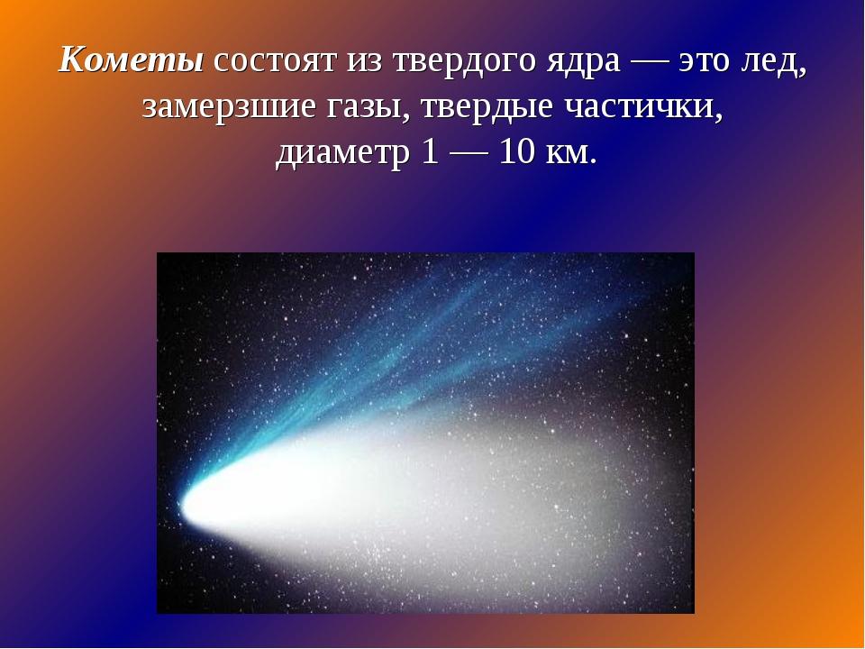 Кометы состоят из твердого ядра — это лед, замерзшие газы, твердые частички,...