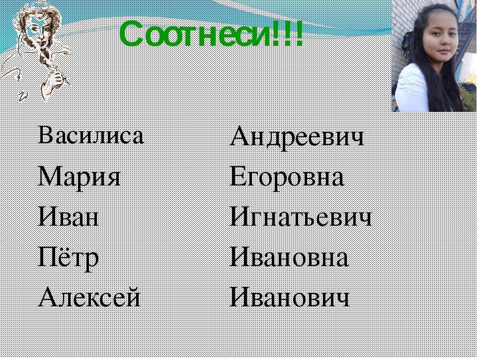Соотнеси!!! Василиса Андреевич Мария Егоровна Иван Игнатьевич Пётр Ивановна...
