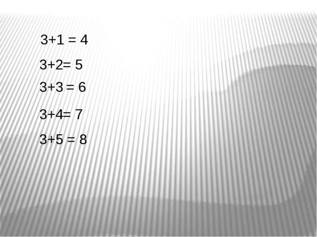 3+1 = 4 3+2 = 5 3+3 = 6 3+4 = 7 3+5 = 8