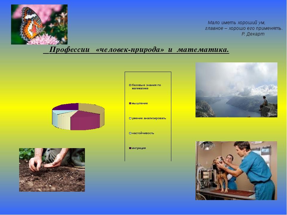 Профессии «человек-природа» и математика. Мало иметь хороший ум, главное – х...