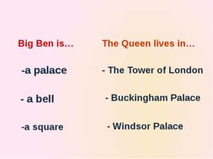 The country's leaders sit in… -the Houses of Parliament - Big Ben -Buckingham