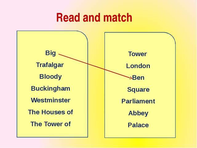 Read and match Big Trafalgar Bloody Buckingham Westminster The Houses of The...