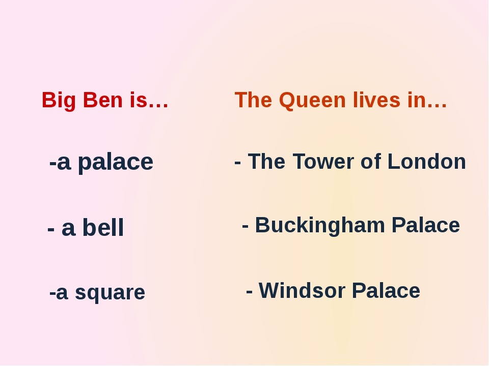 The country's leaders sit in… -the Houses of Parliament - Big Ben -Buckingham...